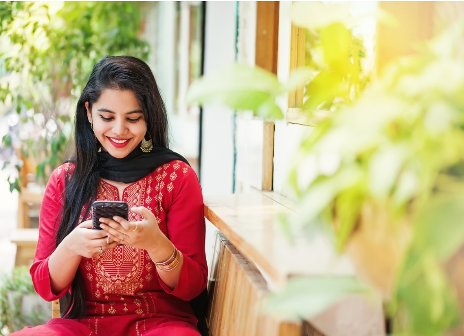Indian women with phone